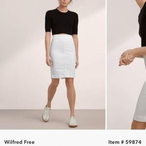 Aritzia Wilfred Free White  Karolina Denim Skirt 8